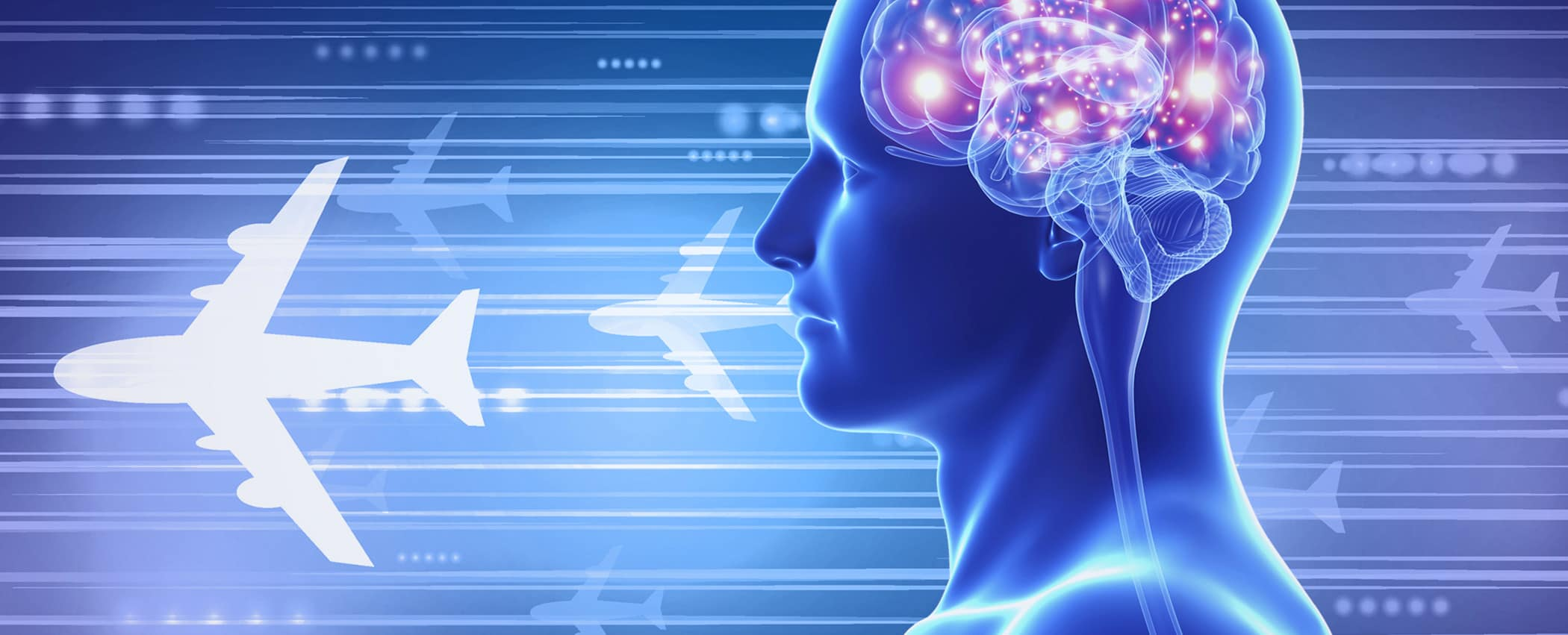 Conceptual graphic with human mind focused on aviation